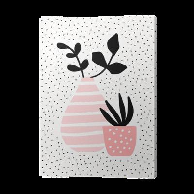leinwandbild rosa vase und topf mit pflanzen pixers wir leben um zu ver ndern. Black Bedroom Furniture Sets. Home Design Ideas