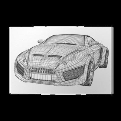 Leinwandbild Sportwagen-Blaupause. Concept Car nicht gebrandmarkt ...