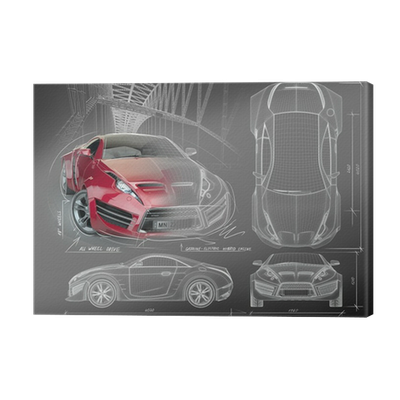 Leinwandbild Sportwagen Blaupausen. Non gebrandmarkt Concept Car ...