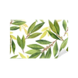 Mural de Parede em Vinil Watercolor bay leaf seamless pattern of flowers and leaves isolated on white background.