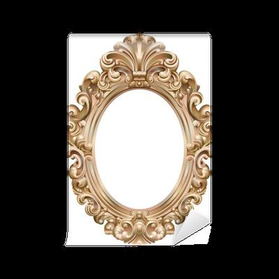papier peint cadre baroque ovale dor pixers nous vivons pour changer. Black Bedroom Furniture Sets. Home Design Ideas