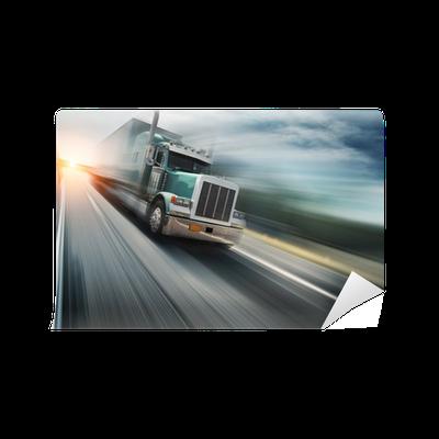 papier peint camion am ricain exc s de vitesse sur autoroute flou de mouvement pixers. Black Bedroom Furniture Sets. Home Design Ideas