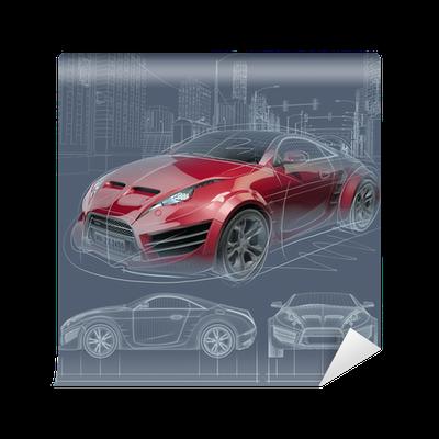 Papier peint croquis voiture de sport conception de la voiture originale pixers nous - Croquis voiture ...