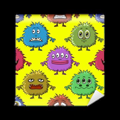 Papier Peint Fond Transparent Pour Votre Conception Avec Différents Monstres De Dessin Animé Motif De Carreaux Coloré Avec Des Personnages Drôles