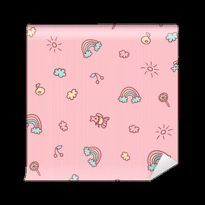 Papier Peint Modèle De Dessin Animé Sans Soudure De Vecteur Poisson Fruits Bonbons Nuages Soleil Et Arc En Ciel Fond Rose Doux Pour Les Enfants