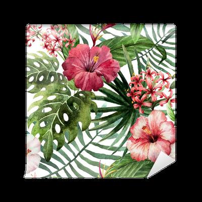 Papier peint Motif orchidée hibiscus feuilles tropiques aquarelle • Pixers® - Nous vivons pour ...