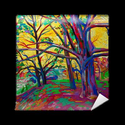 Papier peint peinture l 39 huile de la for t au printemps - Papier pour peinture huile ...