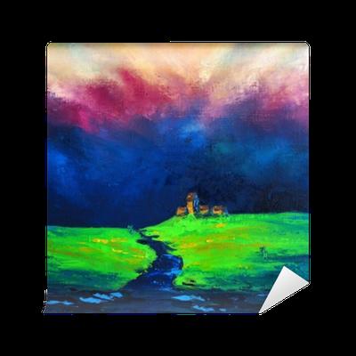 Papier Peint Peinture A L Huile Sur Toile Originale Paysage Mystique Champ Apres La Pluie Et L Orage Le Pouvoir Enchanteur De La Nature L Art Moderne Pixers Nous