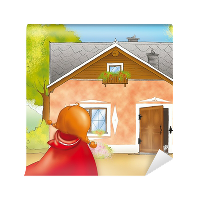 papier peint petit chaperon rouge arriver la maison de grand m re pixers nous vivons pour. Black Bedroom Furniture Sets. Home Design Ideas