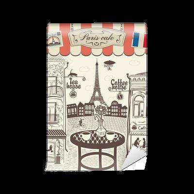 papier peint restaurant rue parisienne avec vue sur la tour eiffel pixers nous vivons pour. Black Bedroom Furniture Sets. Home Design Ideas