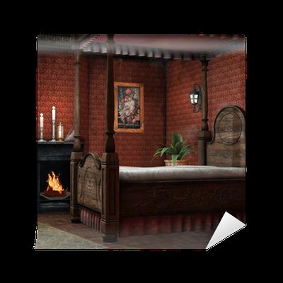 papier peint r tro chambre avec chemin e et des bougies pixers nous vivons pour changer. Black Bedroom Furniture Sets. Home Design Ideas