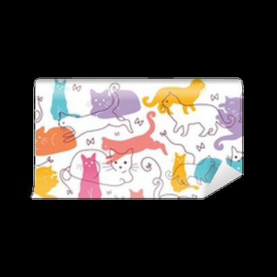 papier peint vecteur color chats horizontal de fond. Black Bedroom Furniture Sets. Home Design Ideas