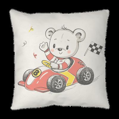 Cute Little Bear Driving A Car Cartoon Hand Drawn Vector