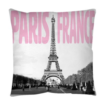 Paris France - Romantic card with pink quote and ...
