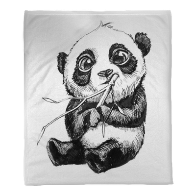 Cute Adorable Baby Panda Bear Illustration Hand Drawn Sketch Of Panda Bear Eating Bamboo Isolated On White Background Plush Blanket Pixers We Live To Change