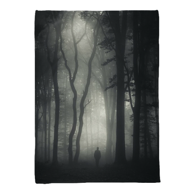 Man Walking In Mysterious Dark Forest Plush Blanket Pixers We Live To Change