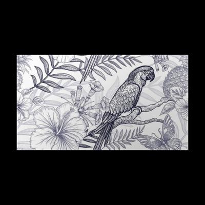 Poster Blumen und Vögel nahtlose Muster. Handzeichnung. Schwarz und ...