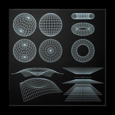Poster Geometrie, Mathematik und Perspektive Drahtmodell-Symbole ...