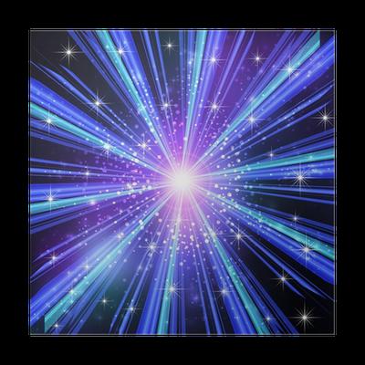 Poster I Raggi Di Luce Blu Con Le Stelle Pixers Viviamo Per Il