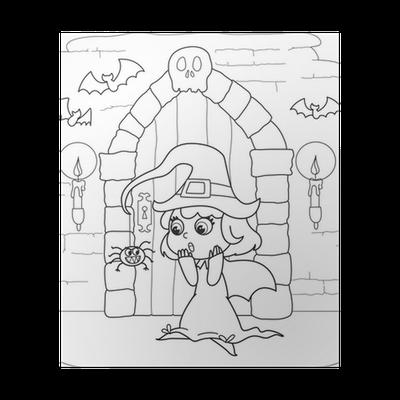Poster Malvorlage Halloween kleine Hexe in gruselige Haus • Pixers ...