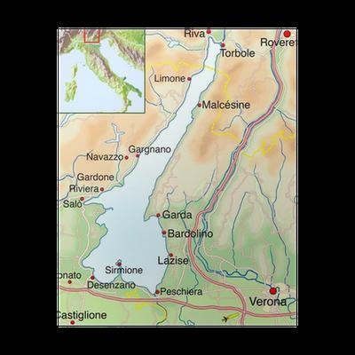Lago Di Garda Cartina Fisica.Poster Mappa Del Lago Di Garda Pixers Viviamo Per Il Cambiamento