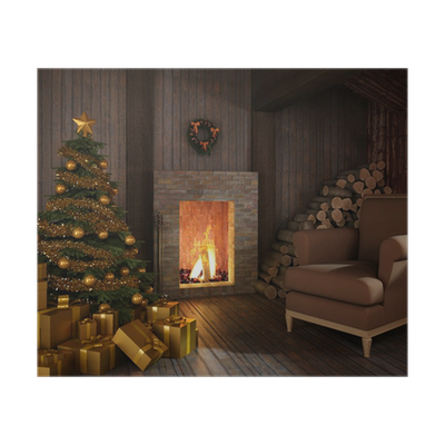 poster urige h tte der kamin zu weihnachten pixers wir leben um zu ver ndern. Black Bedroom Furniture Sets. Home Design Ideas
