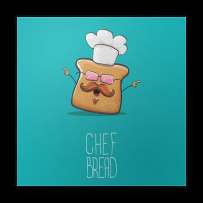 Poster vettore simpatico personaggio di chef di pane carino cartone