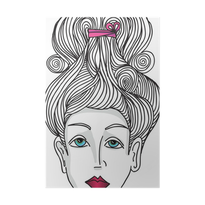 Abstract Sketch Of Woman Face Vector Illustration Poster Pixers We Live To Change
