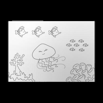Póster Acuario para colorear: peces algas y medusas • Pixers ...