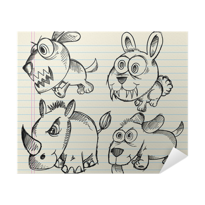 Angry Doodle Sketch Animals Vector Set Poster Pixers We Live To Change