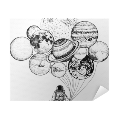 Astronaut Spaceman Planets In Solar System Astronomical Galaxy Space Cosmonaut Explore Adventure Engraved Hand Drawn In Old Sketch Moon And The Sun And Earth Mars And Venus Balloons Poster Pixers
