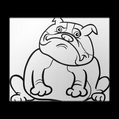 Coloriage Bouledogue Anglais.Poster Bande Dessinee Bulldog Anglais De Chien Pour Livre De Coloriage Pixers Nous Vivons Pour Changer
