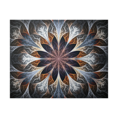 Beautiful Fractal Flower In Gray Brown And Blue Computer