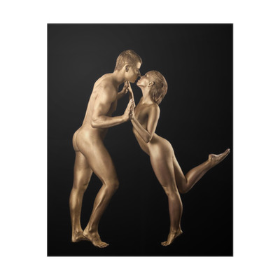 Dancing couple by nude at home