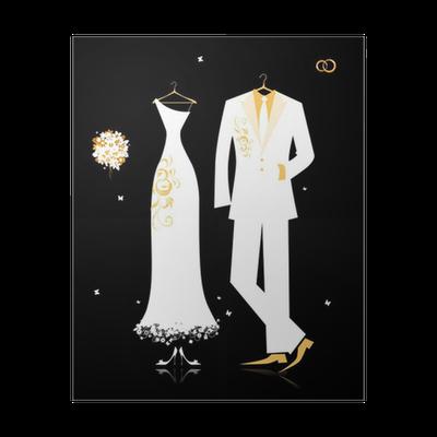 04d118347ce8 Poster Bröllop brudgummen kostym och brudens klänning vitt på svart •  Pixers® - Vi lever för förändring