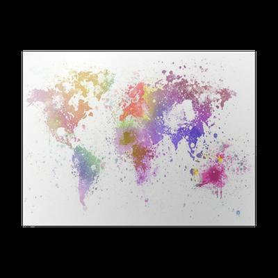poster carte du monde peinture pixers nous vivons pour changer. Black Bedroom Furniture Sets. Home Design Ideas