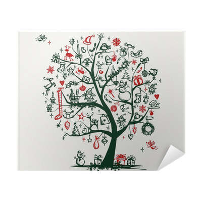 Christmas Tree Sketch For Your Design Poster Pixers We Live To Change