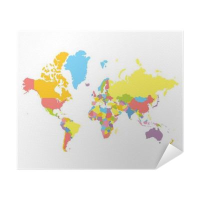 Colorfull vector political world map on white background each colorfull vector political world map on white background each country colored in different color flat style mercator projection poster pixers we live gumiabroncs Images