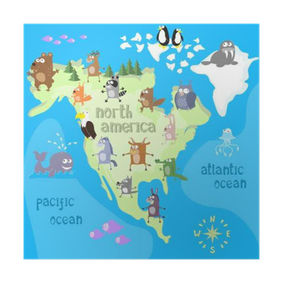 Concept design map of north american continent with animals drawing ...