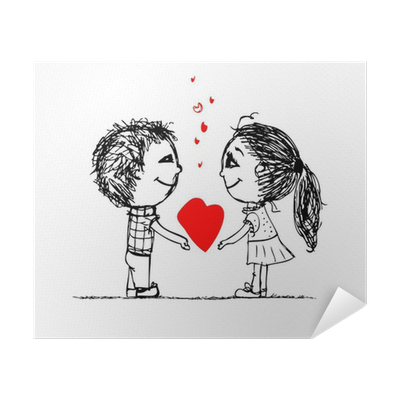 Couple In Love Together Valentine Sketch For Your Design Poster Pixers We Live To Change