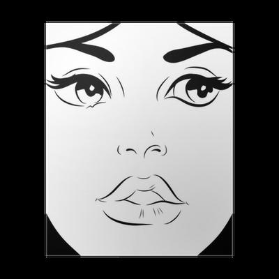 Croquis Noir Et Blanc Visage Femme Gros Plan Poster Pixers We Live To Change