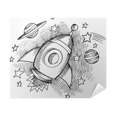 Cute Outer Space Rocket Sketch Vector Poster Pixers We Live To Change