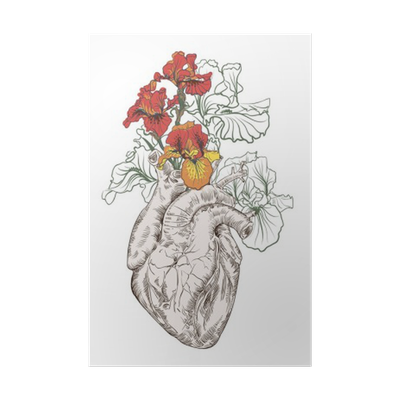 Drawing Human Heart With Flowers Poster Pixers We Live To Change