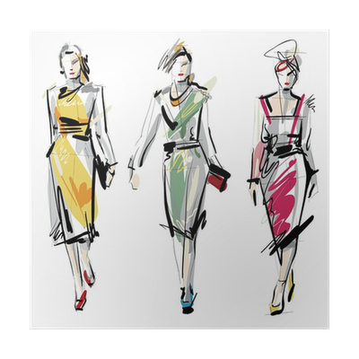 Fashion Models Sketch Poster Pixers We Live To Change