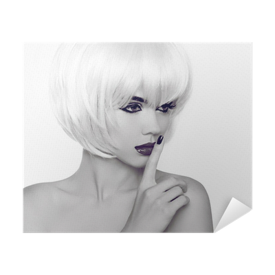 Fashion Style Beauty Woman Portrait With White Short Hair Black Poster Pixers We Live To Change