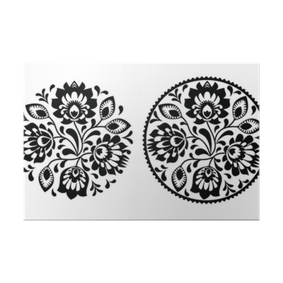 Folk Embroidery With Flowers Traditional Polish Pattern