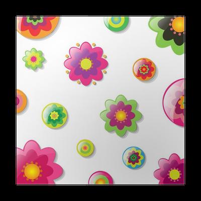 Poster Fondo Con Las Flores De Dibujos Animados Pixers Vivimos