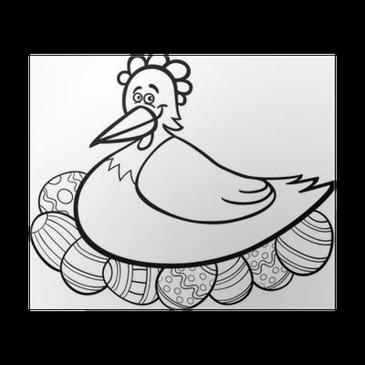 Póster Gallina para incubar huevos de Pascua de dibujos animados ...