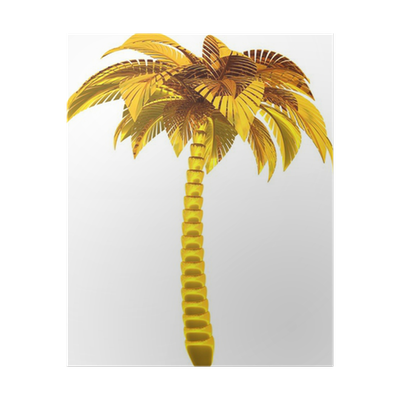 Golden Palm Tree Single Stylized Tropical Nature Symbol Poster