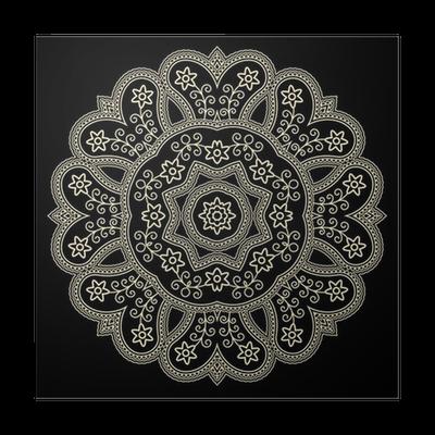 Poster Gouden Kant Kleedje Op Een Zwarte Ronde Haak Ornament